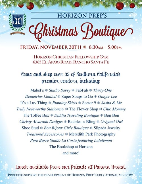 Horizon Prep Christmas Boutique flyer